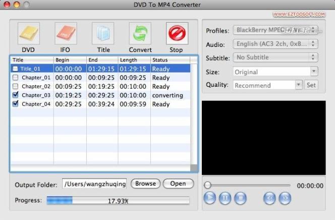 Eztoo DVD To MP4 Converter for MAC Screenshot 2