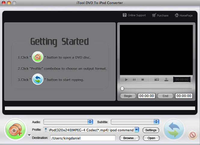 iTool DVD to iPod Converter for MAC Screenshot