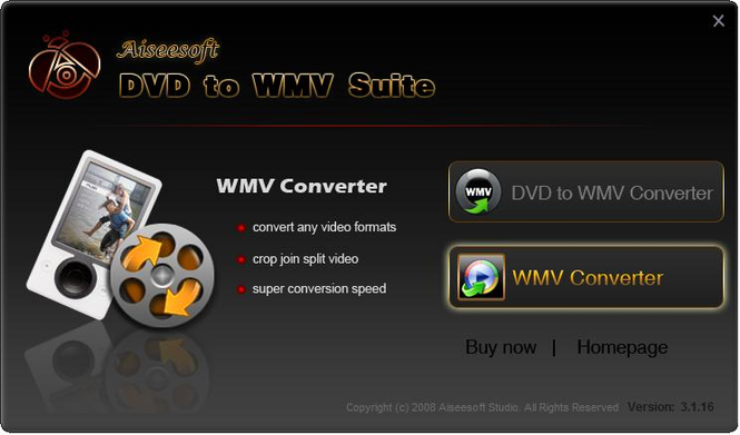 Aiseesoft DVD to WMV Suite Screenshot