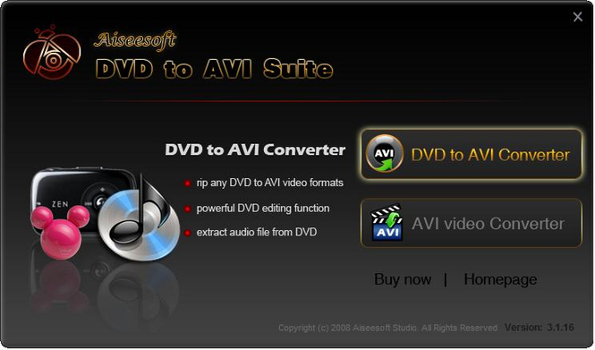 Aiseesoft DVD to AVI Suite Screenshot