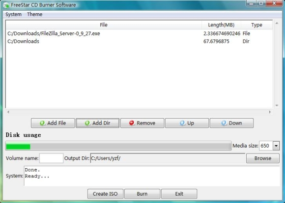 FreeStar CD Burner Software Screenshot