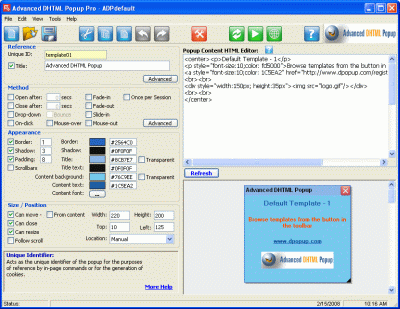 Advanced DHTML Popup Pro Screenshot 1
