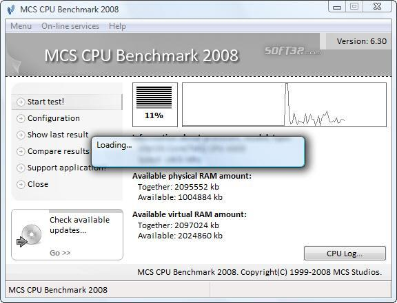 MCS CPU Benchmark 2008 Screenshot