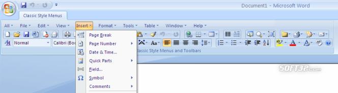 Classic Style Menus for Word 2007 Screenshot 3