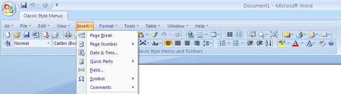 Classic Style Menus for Word 2007 Screenshot