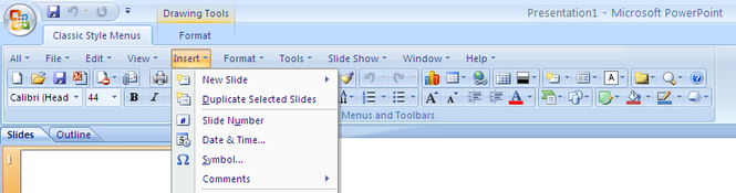 Classic Style Menus for PowerPoint 2007 Screenshot 1