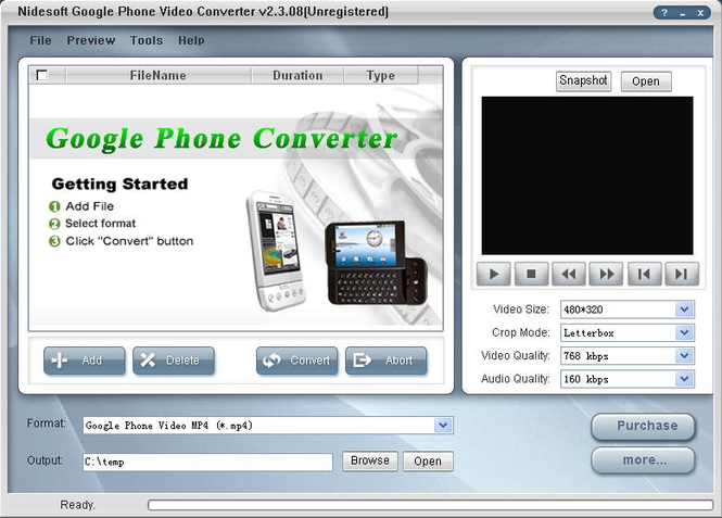 Nidesoft Google Phone Video Converter Screenshot