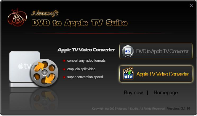 Aiseesoft DVD to Apple TV Suite Screenshot