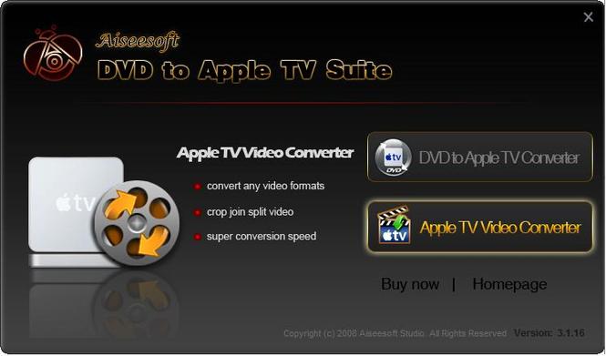 Aiseesoft DVD to Apple TV Suite Screenshot 1