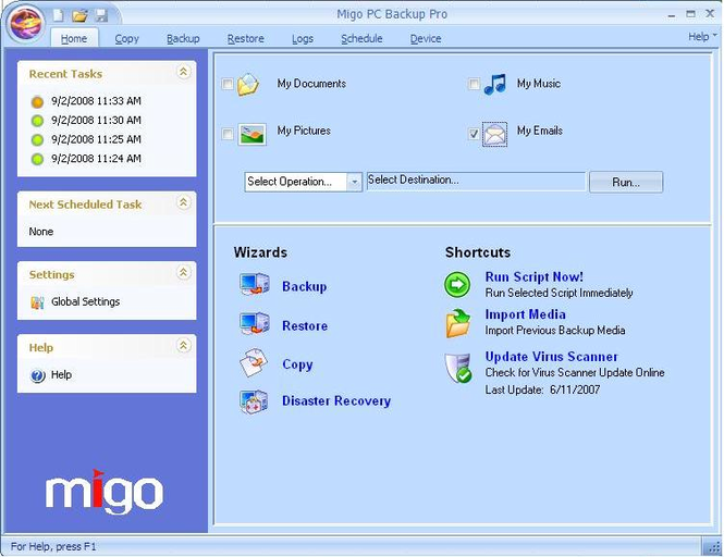 Migo PC Backup Screenshot