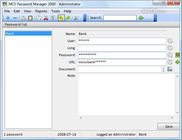 MCS Password Manager 2008 Screenshot 1