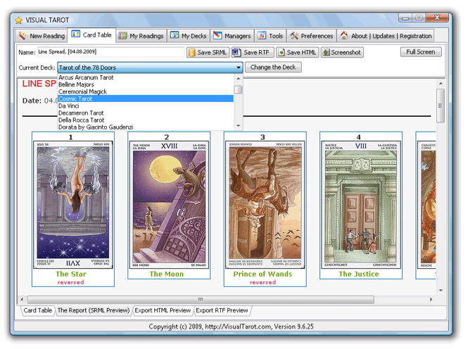 Visual Tarot Program Screenshot