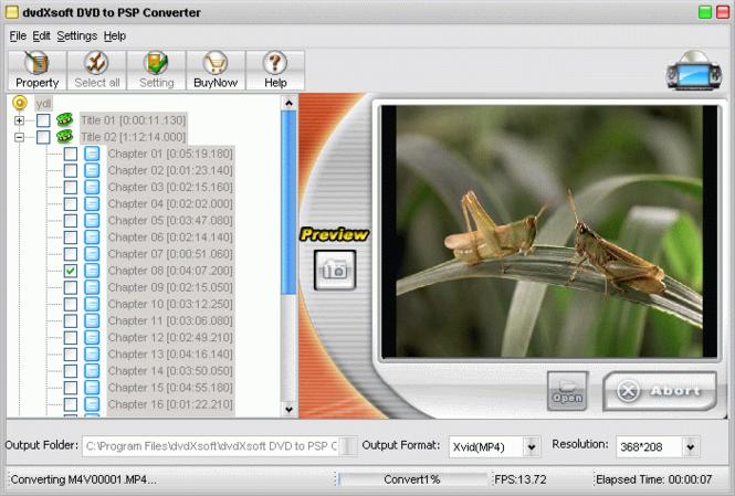 dvdXsoft DVD to PSP Converter Screenshot 1