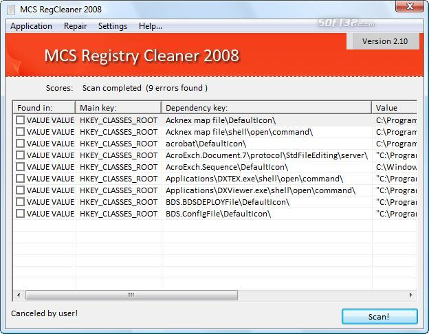 MCS Registry Cleaner 2008 Screenshot 1