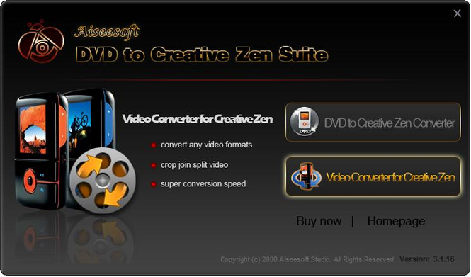 Aiseesoft DVD to Creative Zen Suite Screenshot