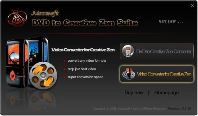 Aiseesoft DVD to Creative Zen Suite Screenshot 2