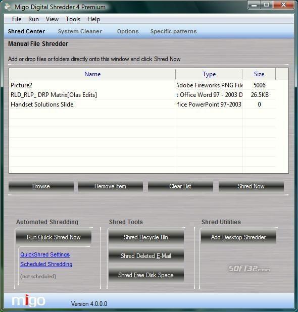 Migo Digital Shredder Screenshot 2