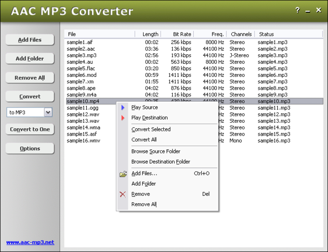 AAC MP3 Converter Screenshot
