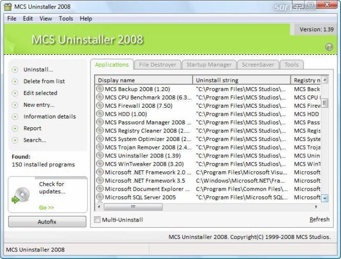 MCS Uninstaller 2008 Screenshot