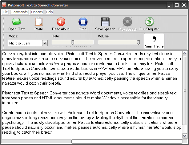 Pistonsoft Text to Speech Converter Screenshot 2