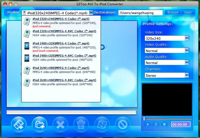 AVI To iPod Converter for MAC Screenshot