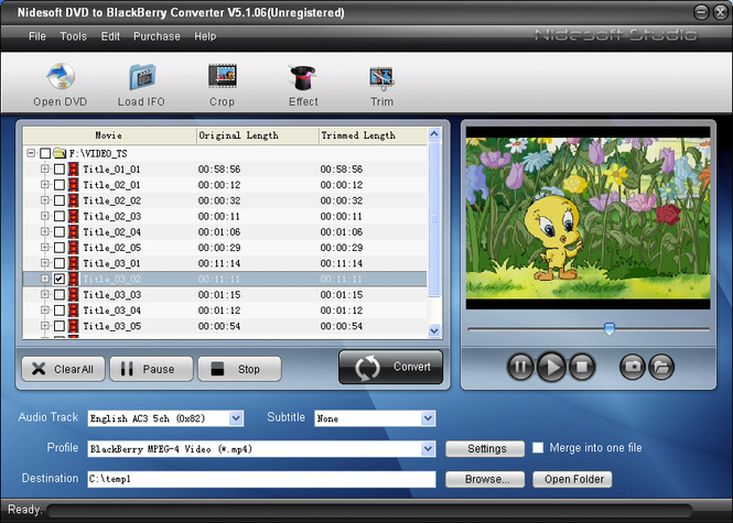 Nidesoft DVD to BlackBerry Converter Screenshot 1