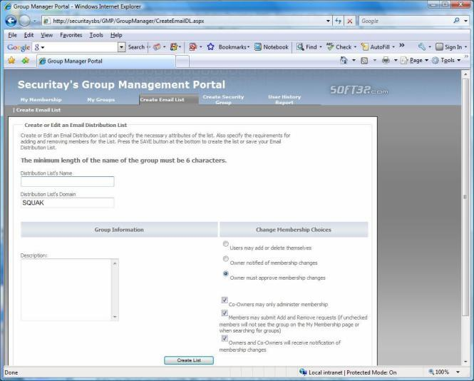 Group Management Portal Screenshot