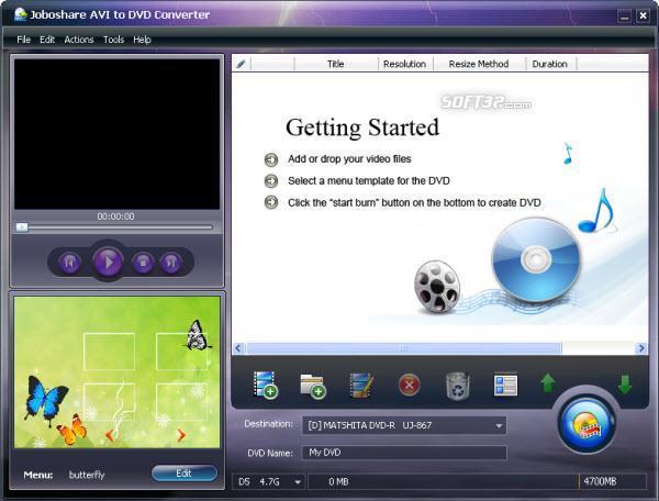 Joboshare AVI to DVD Converter Screenshot 2