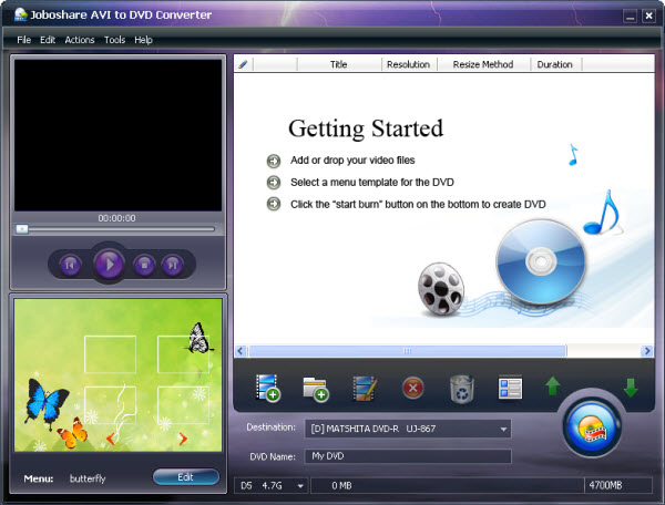 Joboshare AVI to DVD Converter Screenshot