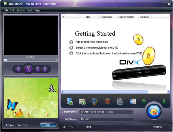 Joboshare DivX to DVD Converter Screenshot