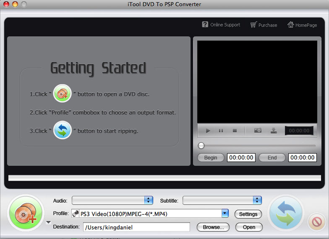 iTool DVD to PSP Converter for MAC Screenshot