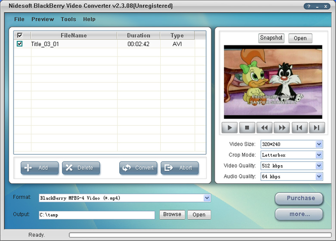Nidesoft BlackBerry Video Converter Screenshot