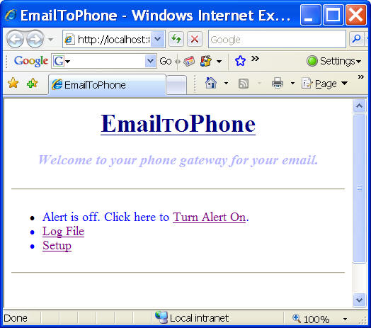 EmailToPhone Screenshot