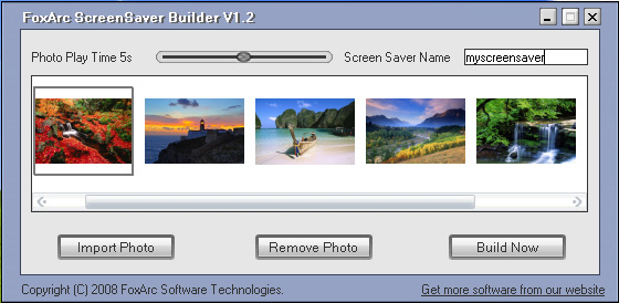 FoxArc Screen Saver Builder Screenshot