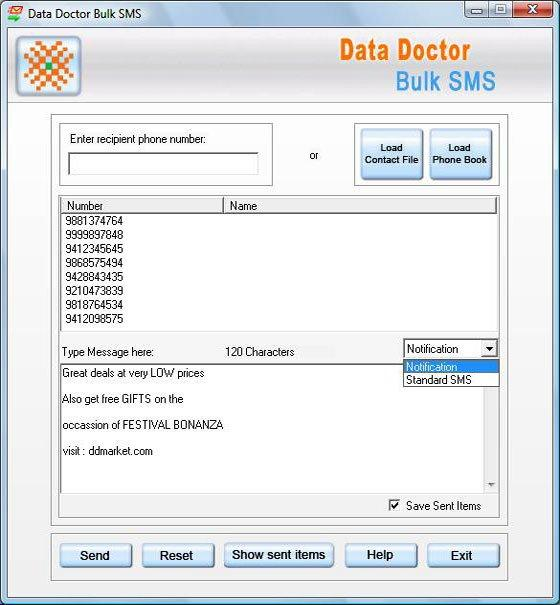 PDA Bulk Text Messaging Tool Screenshot 1