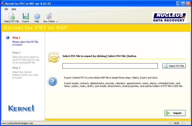 Outlook to Lotus Notes Screenshot