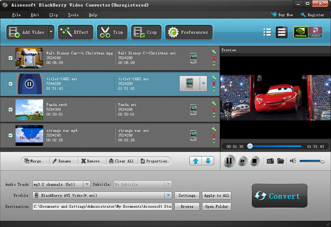 Aiseesoft BlackBerry Video Converter Screenshot 1