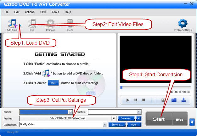 Eztoo DVD To AVI Converter Screenshot