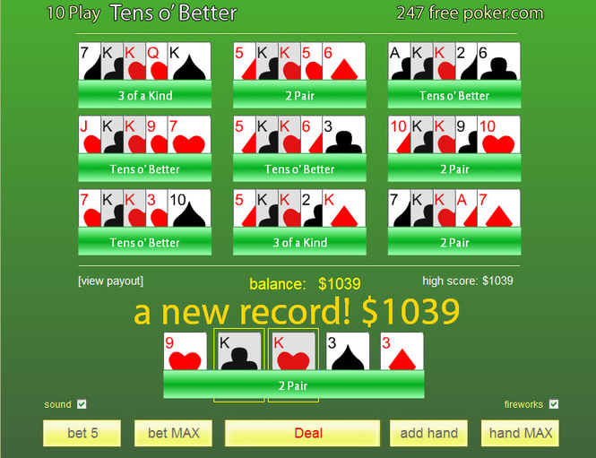 Free Poker 10's or Better 10-Play Screenshot