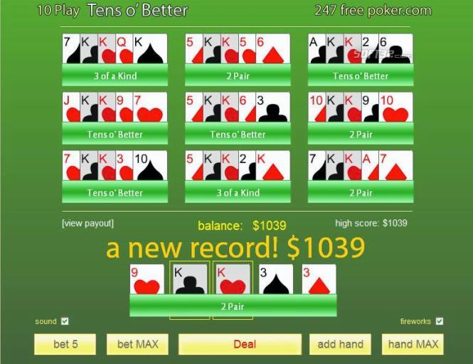 Free Poker 10's or Better 10-Play Screenshot 3