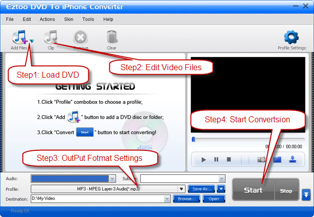Eztoo DVD To iPhone Converter Screenshot