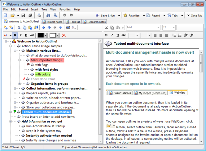 ActionOutline Lite Screenshot 1
