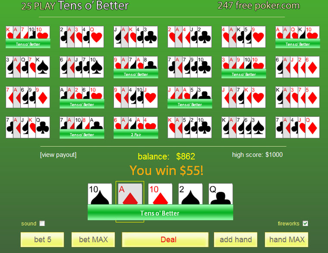 Free Poker 10's or Better 25-Play Screenshot