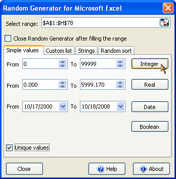 Random Generator for Microsoft Excel Screenshot