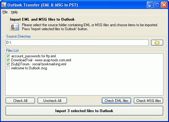 Outlook Transfer Screenshot 1