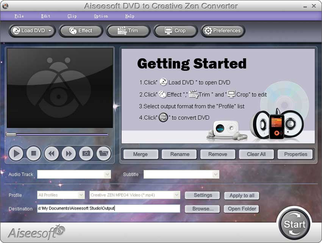 Aiseesoft DVD to Creative Zen Converter Screenshot 1