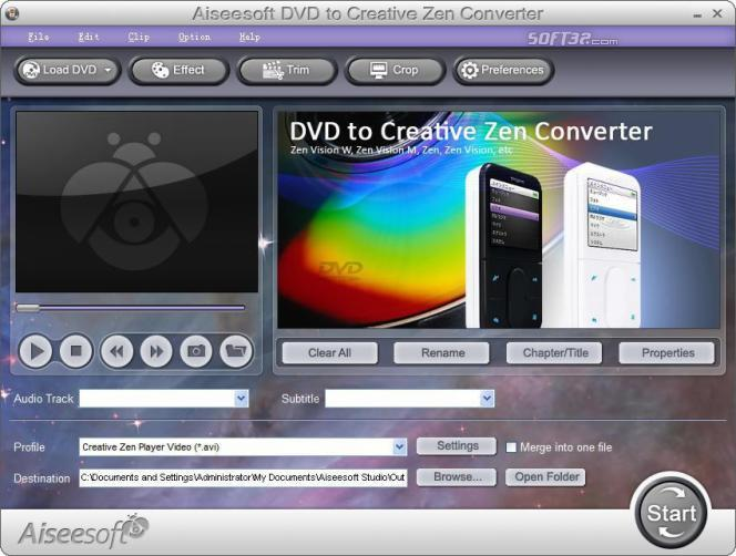 Aiseesoft DVD to Creative Zen Converter Screenshot 2