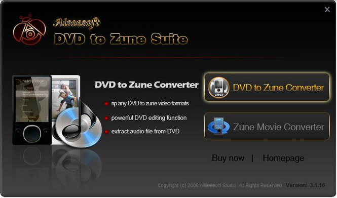 Aiseesoft DVD to Zune Suite Screenshot 1