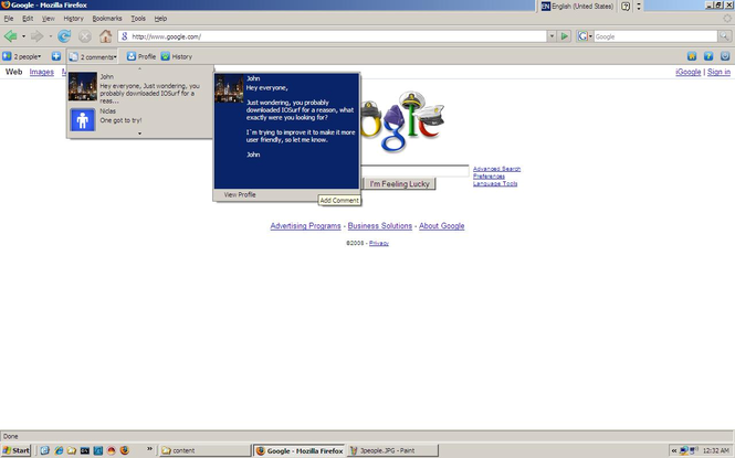IOSurf for FireFox/Mozilla Screenshot