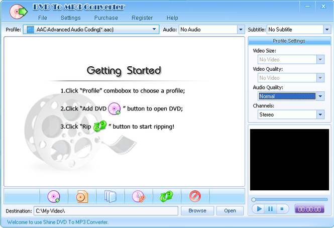 Shine DVD To MP3 Converter Screenshot